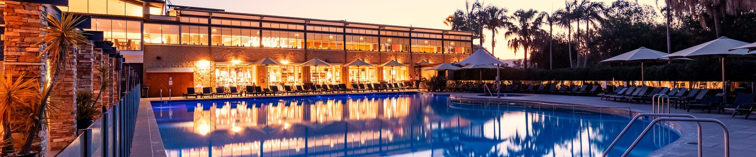 Crowne Plaza Hunter Valley Resort pool at dusk