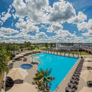 Aerial view of Crowne Plaza Hunter Valley Resort pool and complex