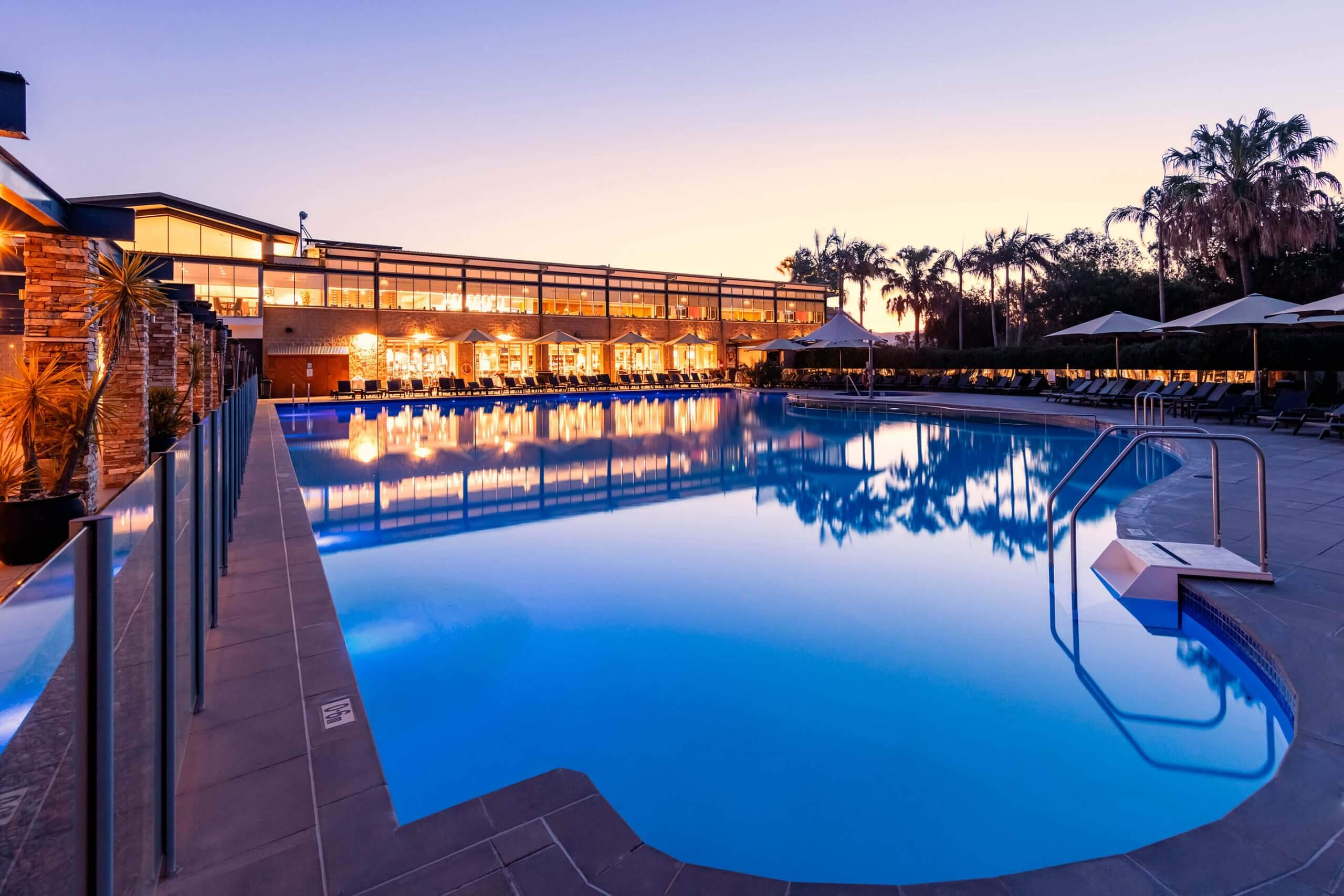Crowne Plaza Hunter Valley swimming pool at night